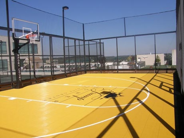 Sport Court on a roof, our court builders can build almost anywhere