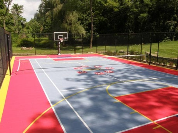 Multipurpose Sports Court with Tennis Basketball and Volleyball